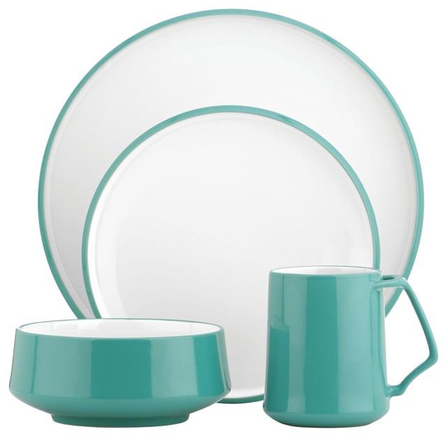 Dansk Kobenstyle 4-Piece Place Setting, Teal - modern - dinnerware