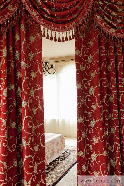 """Louis XVI Royal Red"" Elegant Designer Curtains with Valance, Swags and Tails traditional"