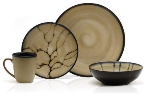 Gourmet Basics by Mikasa Anissa Dinnerware - Set of 16 contemporary-dinnerware