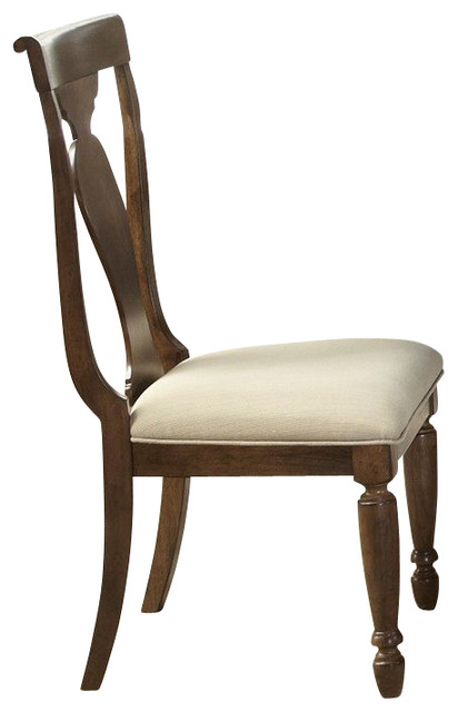 Liberty Furniture Rustic Tradition Splat Back Side Chair in Cherry, Medium Wood traditional-dining-chairs