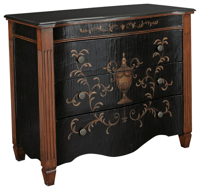 Hammary T73714-00 Hidden Treasures 3-Drawer Accent Chest in Antiqued Black traditional-dressers