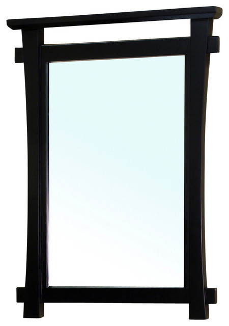 Solid Wood Frame Mirror Black