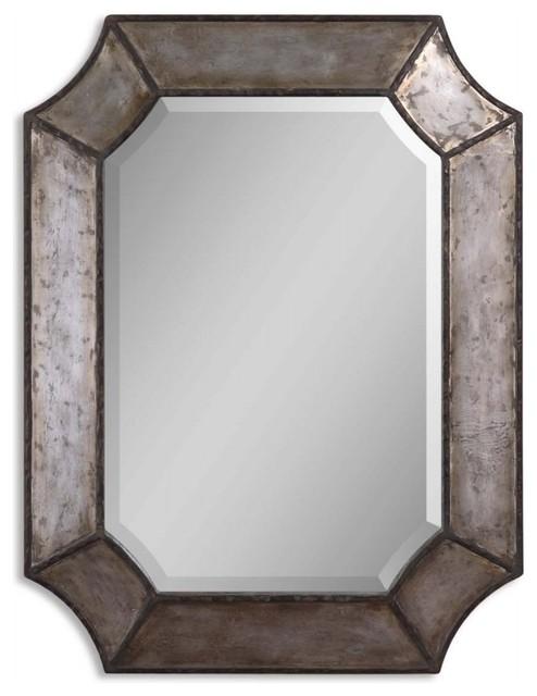Hammered Aluminum with Bronze Rectangular Mirror modern-mirrors