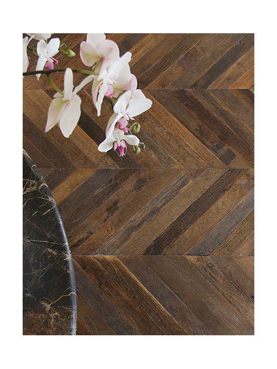 Antique French Oak Chevron Wood Floors -