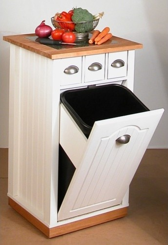 Venture horizon 4124 11wh butcher block bin kitchen island for Trash can ideas for small kitchen