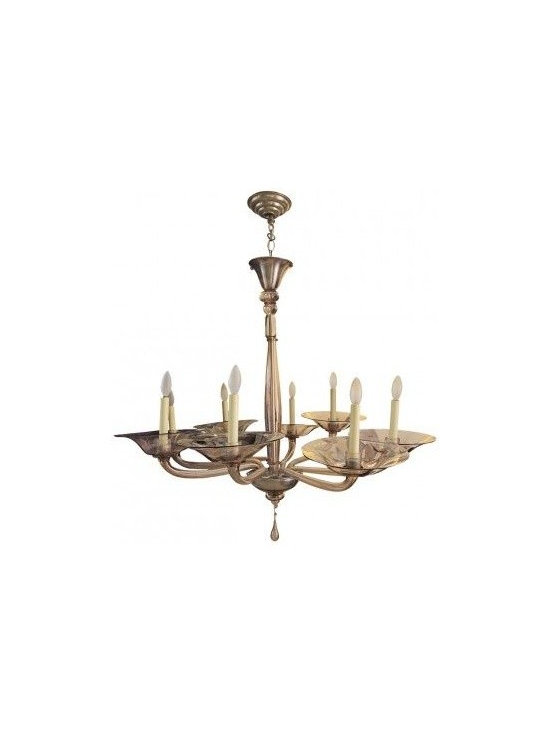 MURANO CHANDELIER LIGHT PURPLE - This elegant chandelier was procured from a Fifth Avenue residence in Manhattan. The chandelier's brass branches hold delicate candelabras ensconced by removable light purple glass coasters hand blown with the finest Murano glass. In good condition.