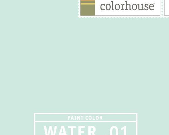 Colorhouse WATER .01 - Colorhouse WATER .01: A lively light color, a breath of fresh air. WATER .01 feels like a spa – it is clean and relaxing. Bathrooms with white tile will look great in this fresh color. A bedroom with rich brown and neutral fabrics will create a restful space or if you're feeling French, you could paint your dining room in this unexpected color.