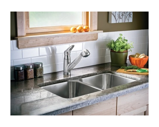 Moen Salora Glacier one-handle low arc pullout kitchen faucet - The Salora® line adds modern styling to any home. Salora will appeal to anyone looking for reliability and convenience plus contemporary design.