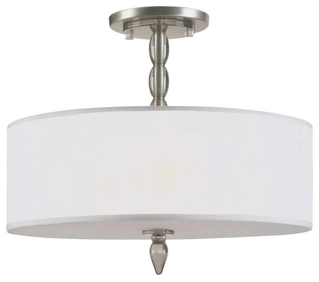 Satin Nickel Semi-Flush With Light Gold Silk Shade, Satin Nickel Finish contemporary-chandeliers