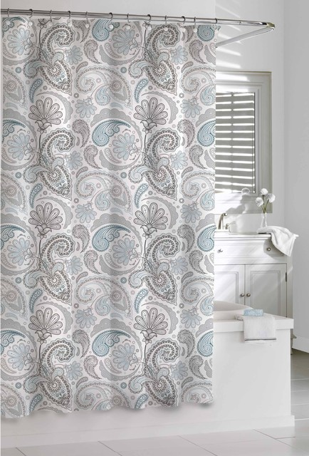 Garden Paisley Blue Grey Shower Curtain Contemporary Shower Curtains By