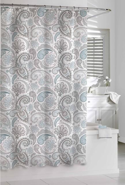 Garden Paisley Blue Grey Shower Curtain