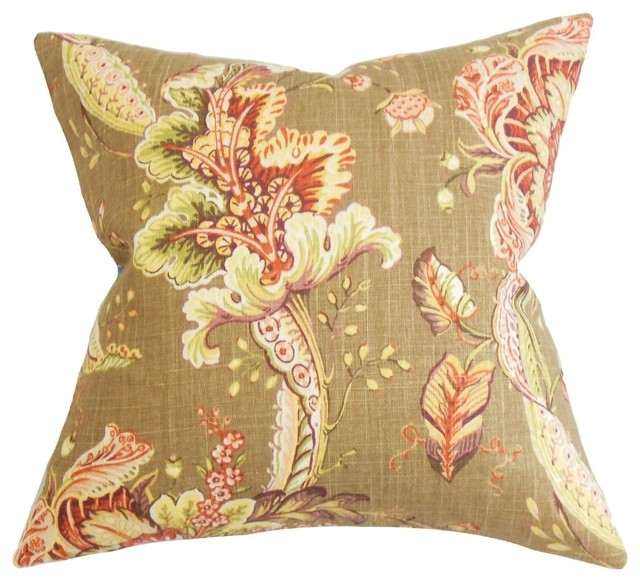 Traditional Decorative Pillows : Eluned Floral Pillow Brown 20