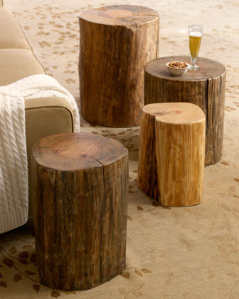 Small Wood Block Side Table traditional-side-tables-and-end-tables