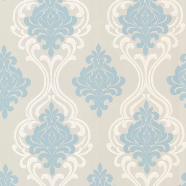 Indiana Light Blue Damask Wallpaper Swatch Contemporary