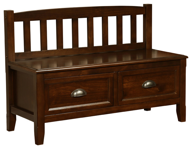 Traditional Foyer Bench : Burlington inch wide entryway bench in espresso brown