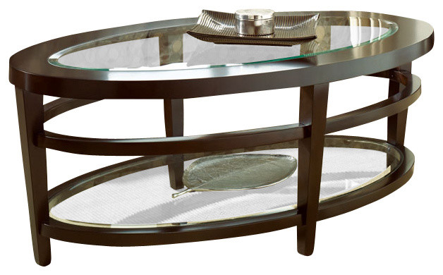 Hammary Urbana Glass Top Oval Cocktail Table Set Traditional Coffee Tables By Beyond Stores