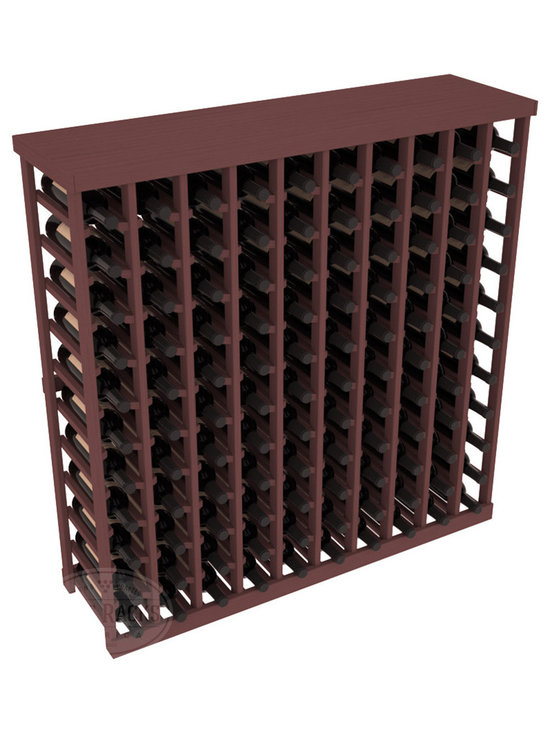 Wine Racks America® - Commercial Wine Rack RetailEDGE™ Standard Base with Solid Top, Walnut Stain - The Standard Base with the solid top option holds up to 110 bottles. These racks are made to secure and safely store each bottle while providing adequate breathing room. With this solid Ponderosa pine top option, 13 beautiful stain & finish combination choices, these racks will be sure to shine in your wine retail setting. The solid top increases storage space for holding more bottles, cases, or sale advertisements. Additional tops are also available and can be interchanged with ease. Increase your bottom line today with RetailEDGE Series ™.
