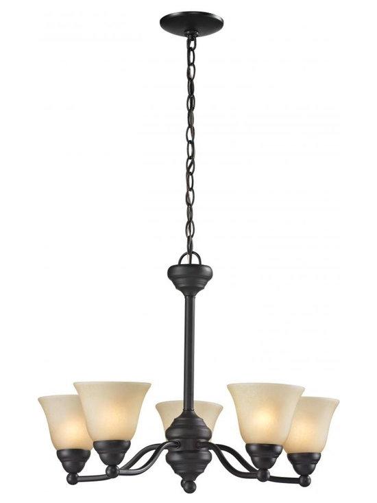 Joshua Marshal - Five Light Bronze Amber Tea Stain Glass Up Chandelier - Finish: Bronze
