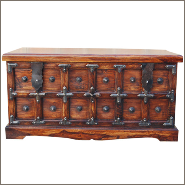 Rustic Wood Storage Blanket Box Coffee Cocktail Table Traditional Coffee Tables Austin