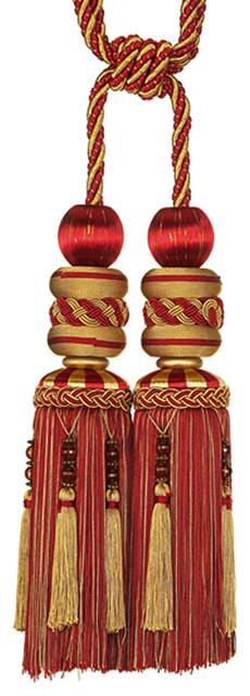 Red Double Tassel Tieback modern-window-treatment-accessories