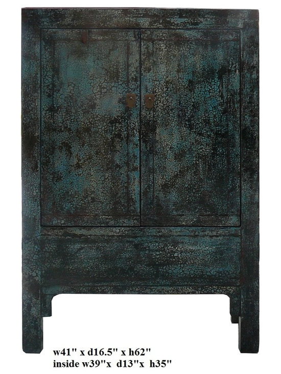 Chinese Crackle Blue Lacquer Armorie Storage TV Cabinet - This is a simple cabinet with nice crackle pattern rustic blue lacquer finish. There is a inside storage compartment around the bottom. It can be a storage cabinet or a closed door TV media cabinet. It is a pretty accent piece for home or business.