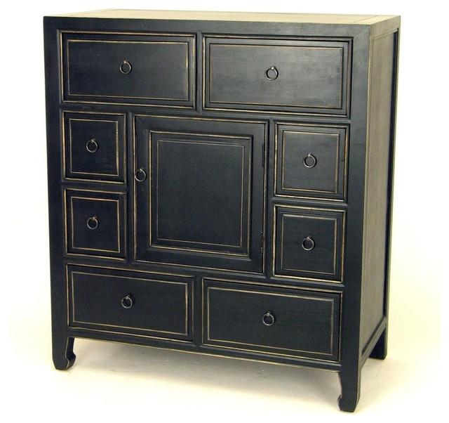 Wayborn Suchow Apothecary 8 Drawer Chest - Black modern-dressers
