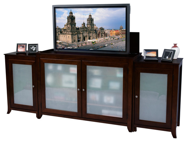 "Tuscany TV Lift Cabinet With Side Cabinets For Flat Screen TV's Up To 55"" contemporary-home-electronics"