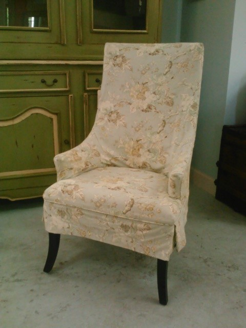 Host Chair With Shabby Chic Floral Slipcover Traditional