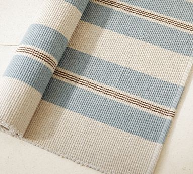Bistro Stripe Cotton Mat Traditional Rugs By Pottery
