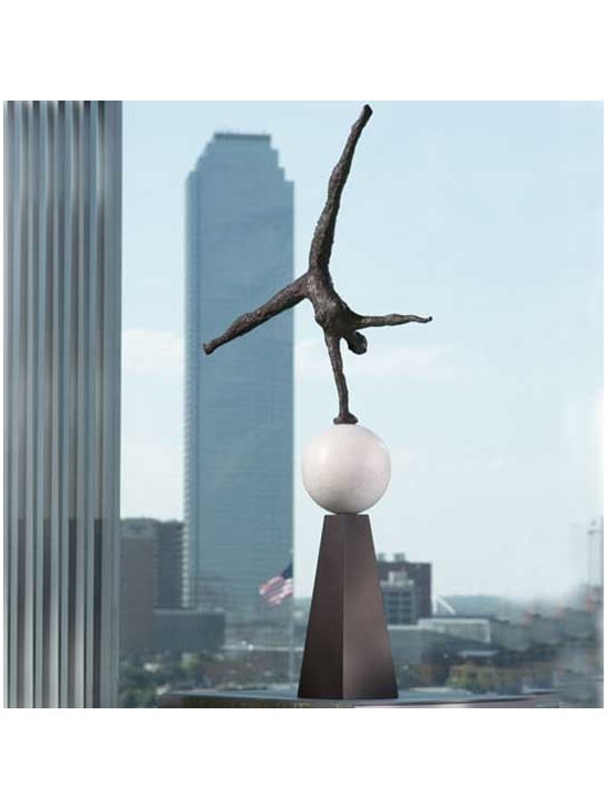 Modern Acrobat Iron Sculpture - Shipping is included in the price! Experience the magic of the big top with this lifelike cast iron sculpture.