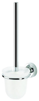 Wall Mounted Frosted Glass Toilet Brush Holder with Chrome Mounting contemporary-toilet-brushes-and-holders