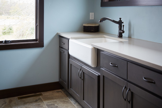 Utility Sink With Countertop : Apron Front Sink with a Quartz Countertop - Traditional - Laundry Room ...