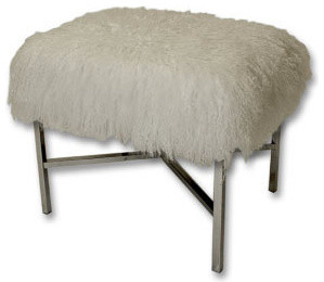 Mongolian Fur X-Bench - Contemporary - Footstools And Ottomans - by Sally Wheat Interiors