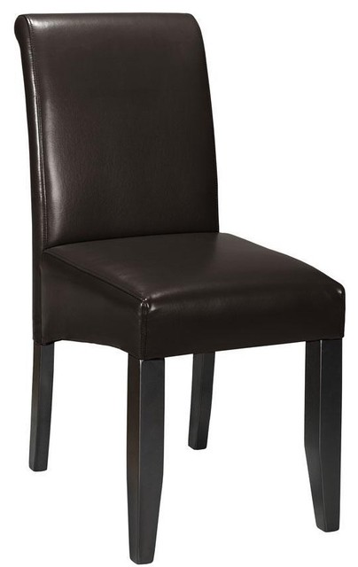 Parsons Rolled-Back Leather Chair contemporary-dining-chairs