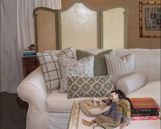Custom & Ready Made Pillows ~ Pillows in Sage - A Potpourri of Decorative Pillows in Sage and Off-White Linen, Each one-of-a-kind and Limited Edition. Couture Custom Made Pillow Services Available. Design and Fabrication by Carol Tate, principal, Artisanaworks. Artisanaworks