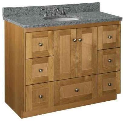 Shaker 42 in. W x 21 in. D x 34.5 in. H Door Style Bathroom Vanity Cabinet Only - Contemporary ...