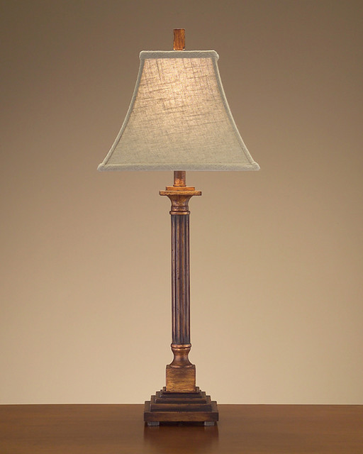 John Richard 33'' Fluted Wood Column Table Lamp contemporary-table-lamps