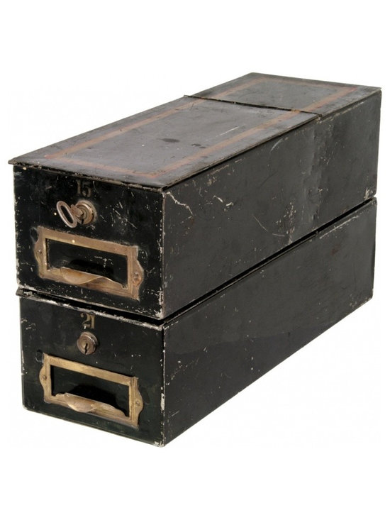 Louis Dow Tin Bankers Boxes - Distressed black painted finish with gold accents. Label holders on drawer fronts.