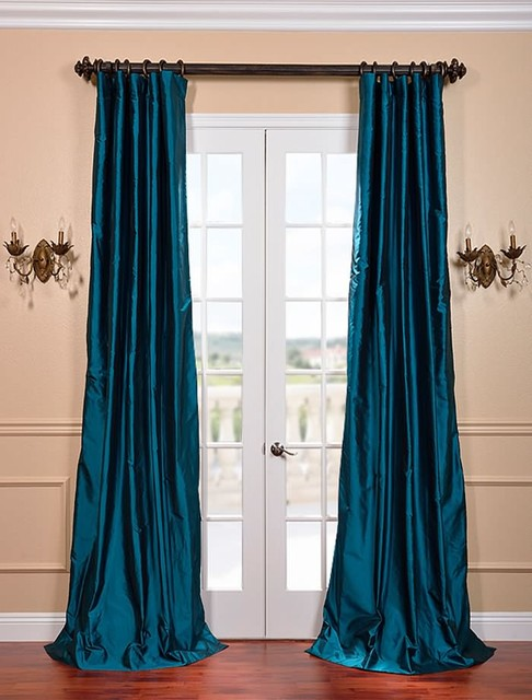 Curtains Ideas sheer curtain ideas for living room : Tahitian Teal Silk Taffeta Curtain - Curtains - san francisco - by ...