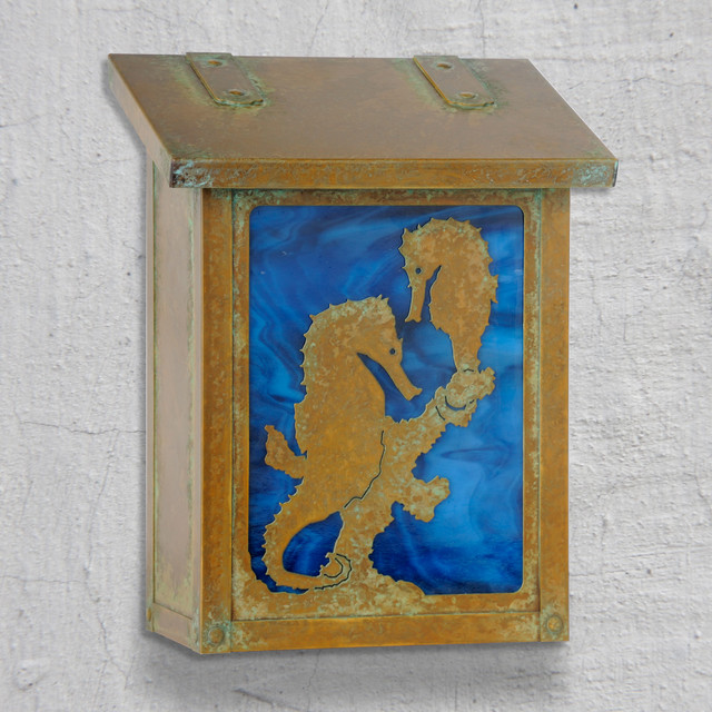 Sea Horse Vertical Wall Mounted Mailbox traditional-mailboxes
