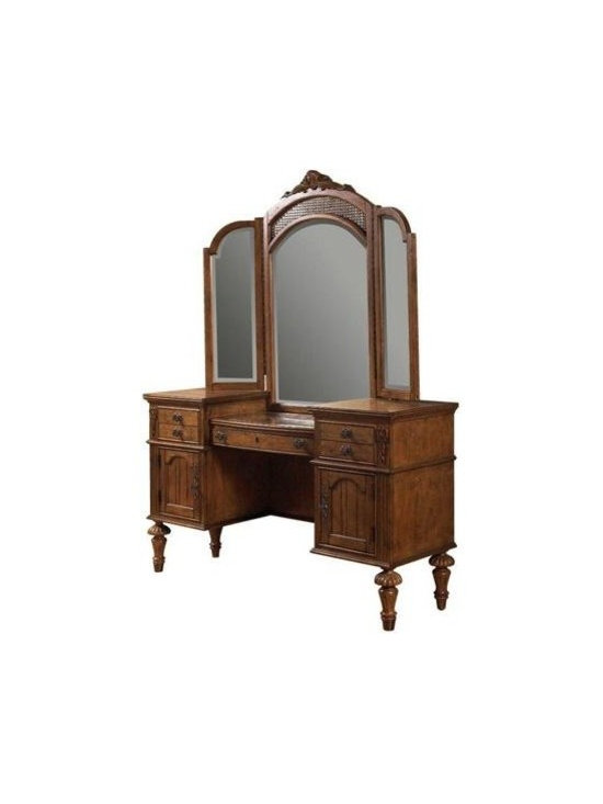East Providence Vanity with Tri-Fold Mirror by Fairmont Designs - The vanity carries rich sugar maple veneers as well as an antique white or honey maple finish and natural distressing.