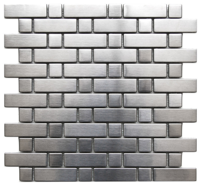 Brick and Square Pattern Stainless Steel Mosaic Tile, Sample contemporary-mosaic-tile