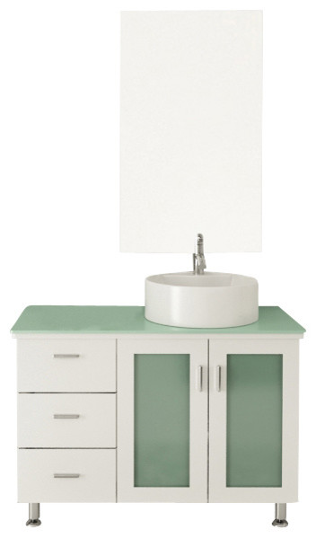 39 white lune single vessel sink modern bathroom vanity with glass
