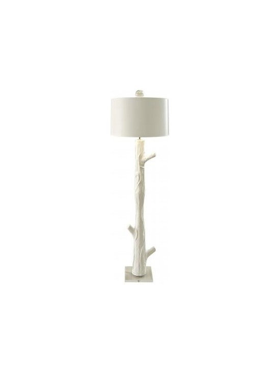 Blum Wood Floor Lamp - Stately....elegant...organic...fun...sculptural. This floor lamp earns all the really good adjectives. Made by hand from papier mache. Has an acrylic foot and a painted paper shade. Topped with a mouth blown glass finial. Available in all of our hand selected Benjamin Moore paint colors.