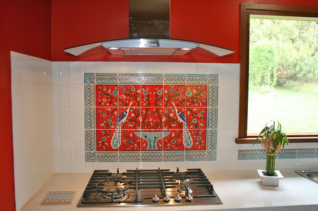 paula 39 s red peacocks kitchen backsplash tile mediterranean tile