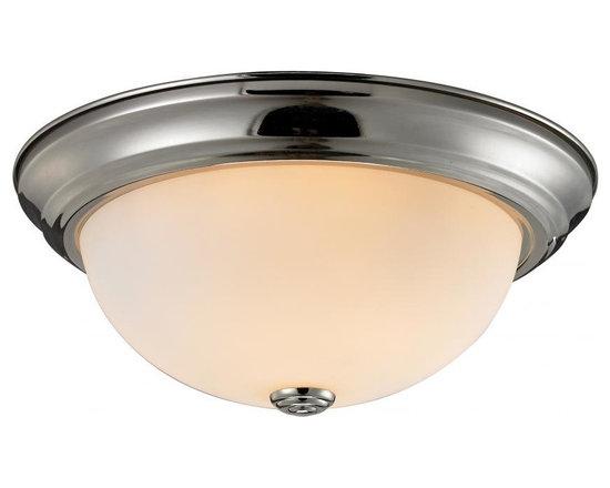 Joshua Marshal - Three Light Brushed Nickel Matte Opal Glass Bowl Flush Mount - Finish: Brushed Nickel