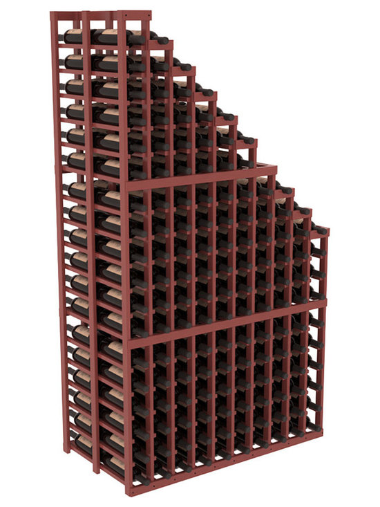 Double Deep Wine Cellar Waterfall Display Kit in Pine with Cherry Stain + Satin - The same beautiful cascading waterfall but in a double deep capacity. Displays 18 choice vintages in a tiered fashion. Designed within our modular specifications and to Wine Racks America's superior product standards, you'll be satisfied. We guarantee it.
