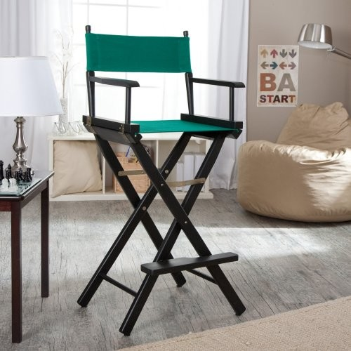 Newport 30 in. Hunter Green Canvas Directors Chair - Black Frame contemporary-living-room-chairs