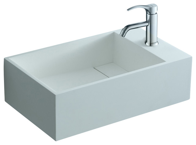 ADM Matte White Wall Hung Stone Resin Sink - contemporary ...