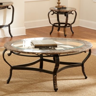 Steve Silver Gallinari Oval Marble and Glass Top Coffee Table modern-side-tables-and-end-tables